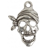 Pendant Pirate Skull With Bandana Antique Silver